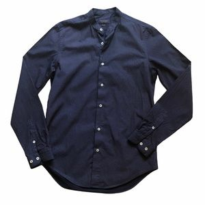 Zara men's collarless button down shirt